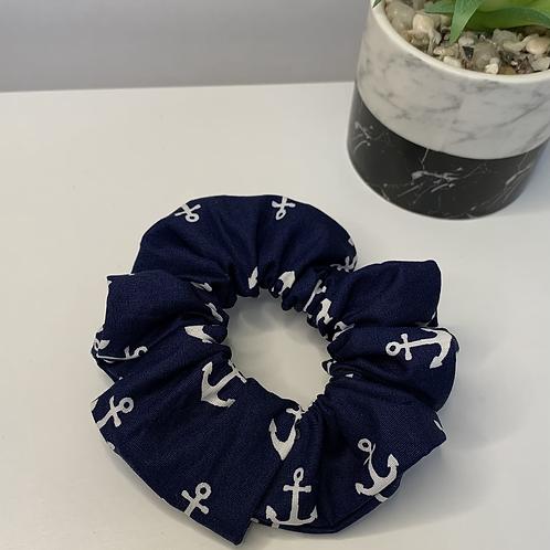 Navy blue anchor scrunchie