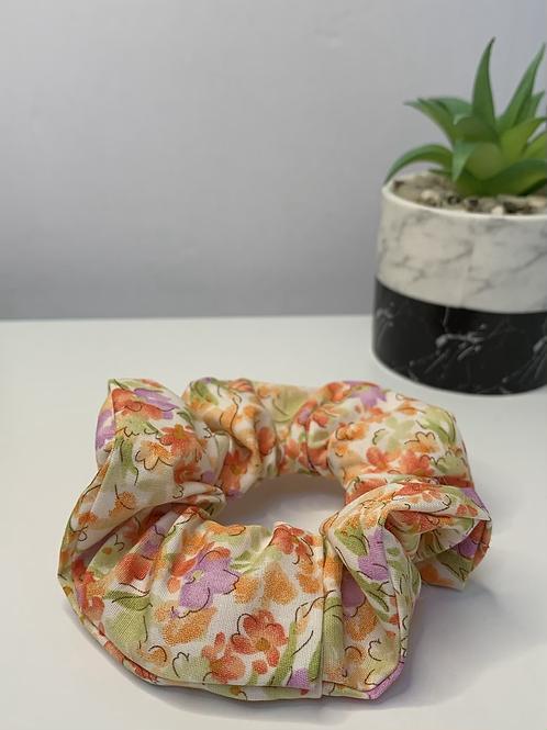 Orange floral scrunchie