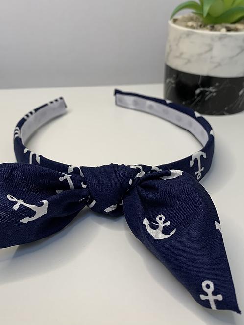 Navy blue anchor headband with bow