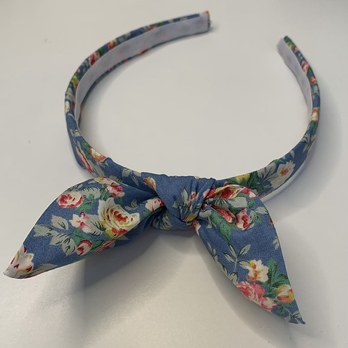 Blue floral headband with bow