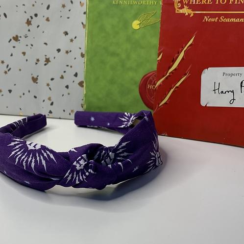 Purple 'H' knotted headband