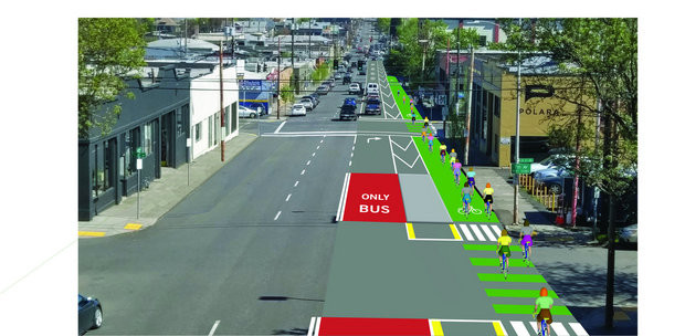 Rendering up proposed bike lanes and traffic pattern changes to SE Hawthorne