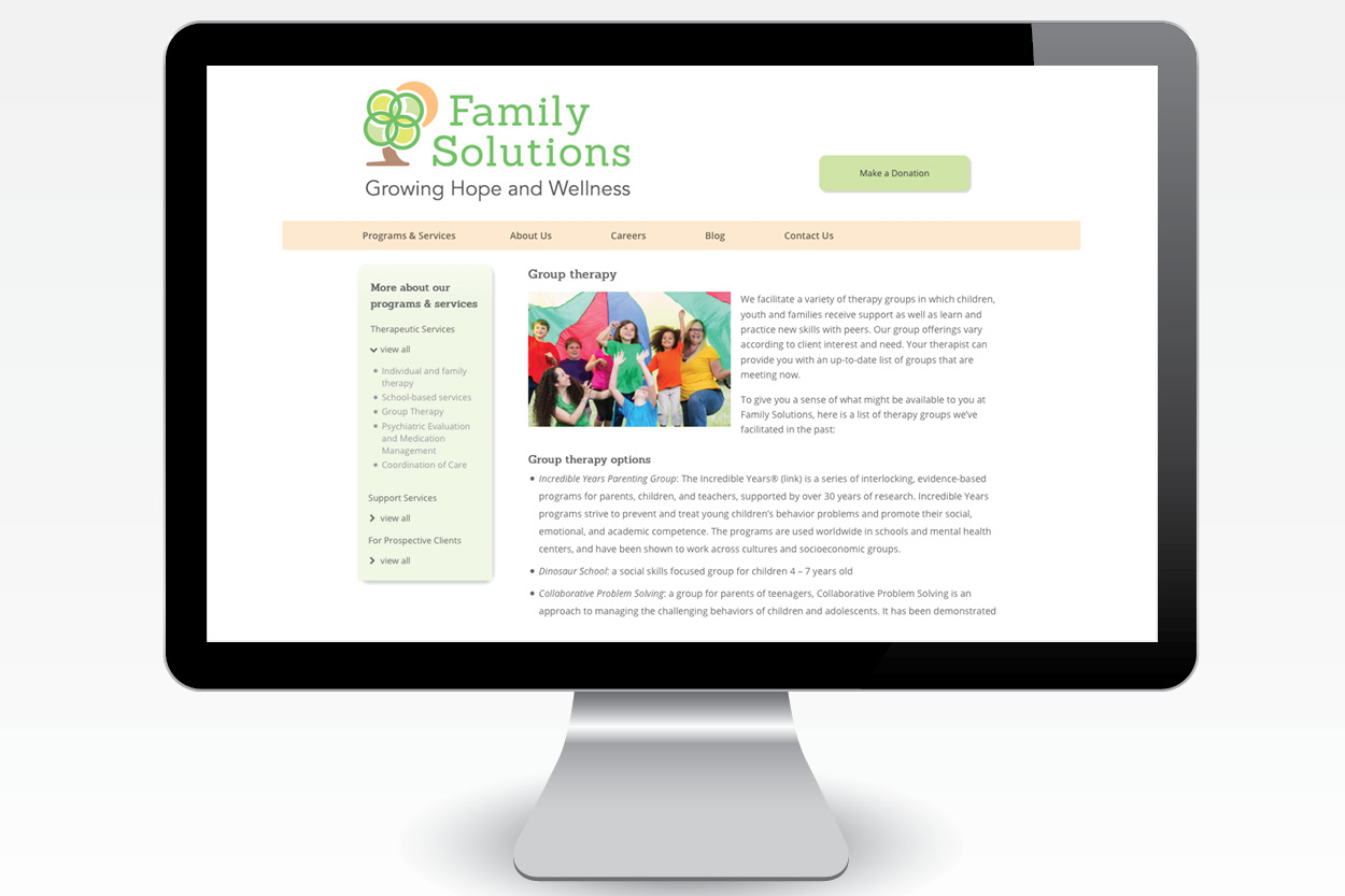 Family Solutions Website: Content