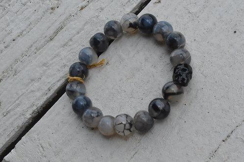 Black Crystal Skull w/ Black/Grey Crackled Agate