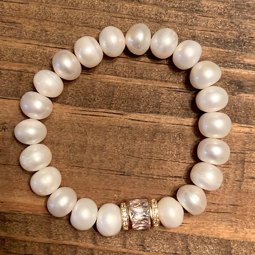 Gold Rhinestone Pave Spacer with Freshwater Pearl Bracelet