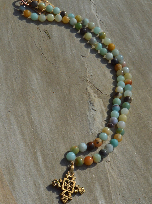 Cross with Amazonite knotted