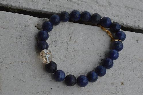 Rose Gold Crystal Skull w/ Lapis (Elastic)
