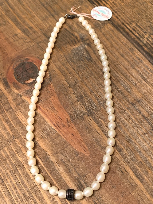 Freshwater Pearls with Black Pave Choker