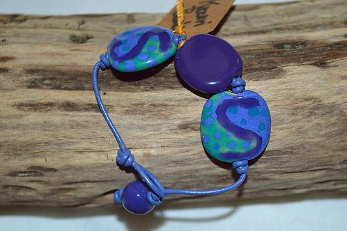 Purple/Blue/Green Kazuri Beads Leather Knotted