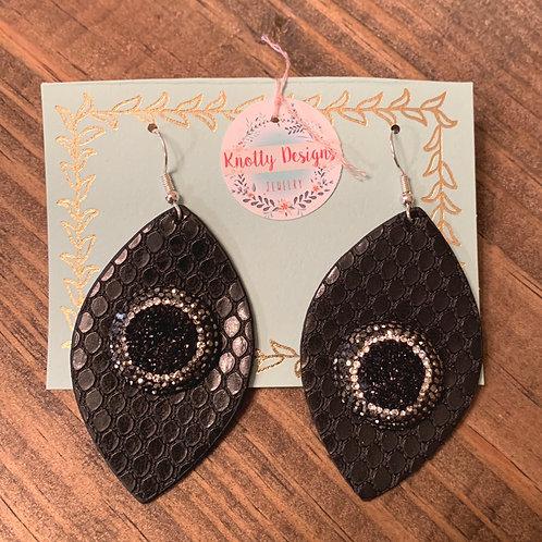 Black Snakeskin with Druzy Leather Earrings