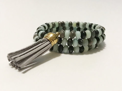 Amazonite with Grey Tassel Memory Wire Bracelet
