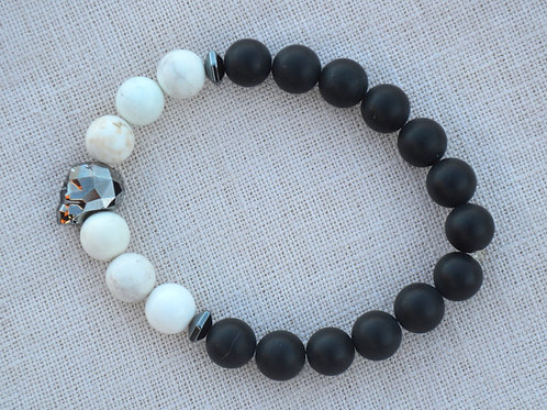 Gunmetal Crystal Skull with Onyx and Howlite