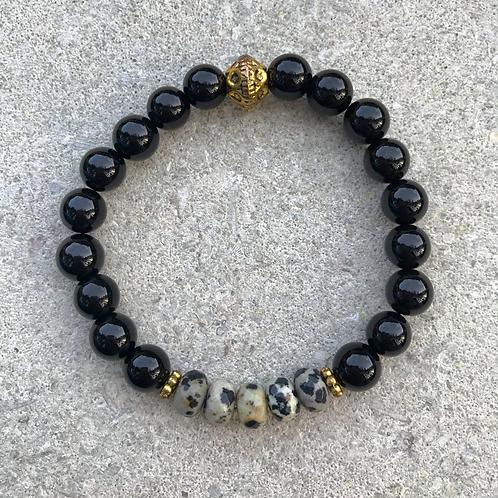 Onyx with Centered Dalmatian Jasper Bracelet