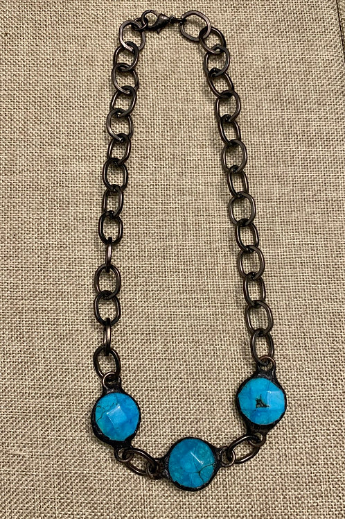 Turquoise and Gunmetal Soldered Rustic Necklace