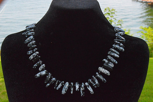 Snowflake Obsidian Spikes with Black Seed Beads