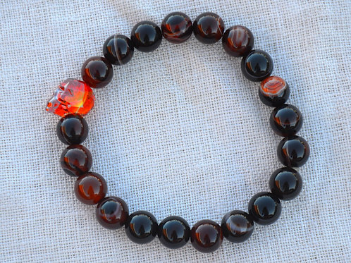 Fire Orange Crystal Skull with Red Brown Agate