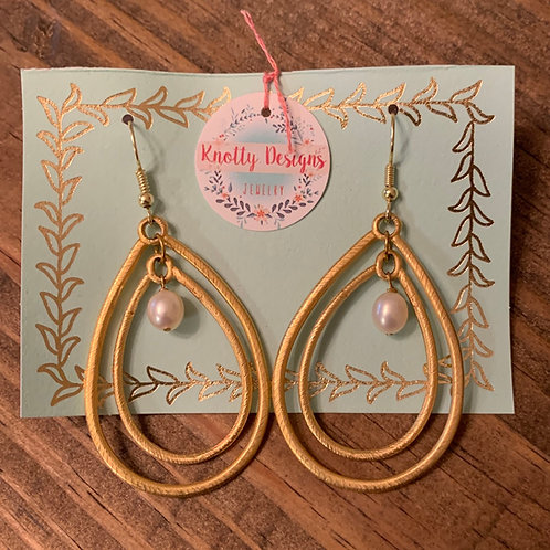 Double Gold Teardrop with Pearl Earring