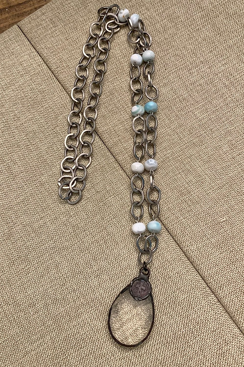 Crystal, Cross and Gems Rustic Silver Necklace