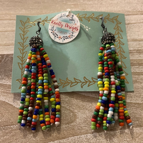 Rainbow with Pave Tassel Earrings