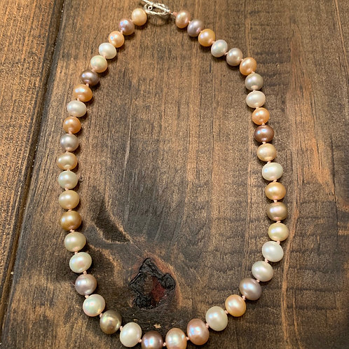 Natural Pink Freshwater Pearl Knotted Necklace