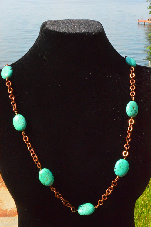 Magnesite Wire-Wrapped on Copper Chain