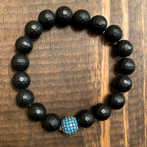 Turquoise Pave with Faceted Black Onyx Bracelet