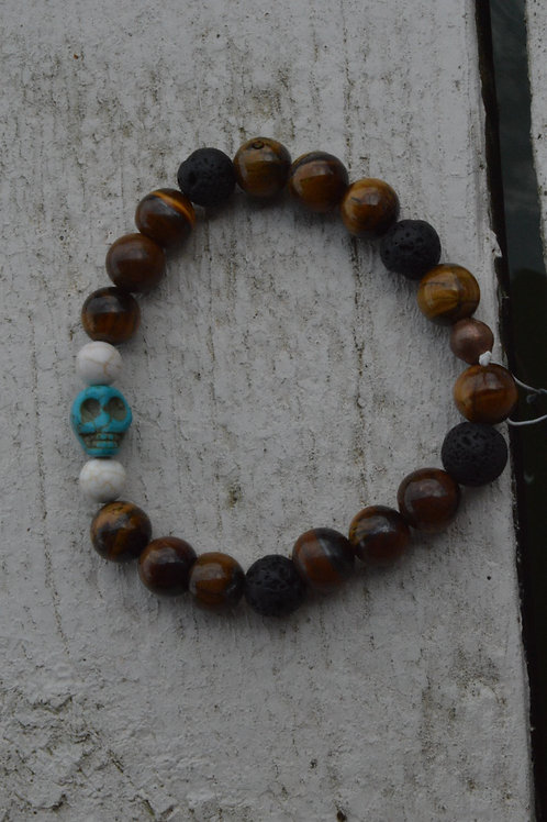 Blue Skull w/ Tiger Eye (Elastic)