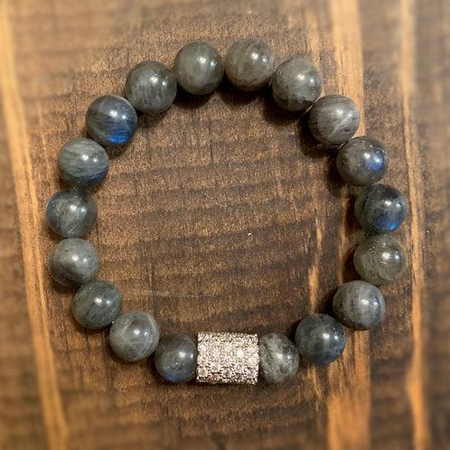 Silver Pave with Labradorite Bracelet