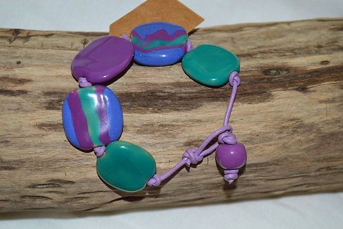 Purple/Green Kazuri Beads Leather Knotted