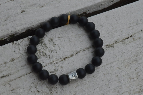 Matte Onyx w/ Silver Spacer (Elastic)