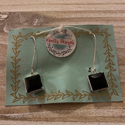 Black Crystal Square Drop Earrings