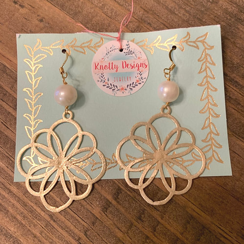 Gold Flower with Pearl Earrings