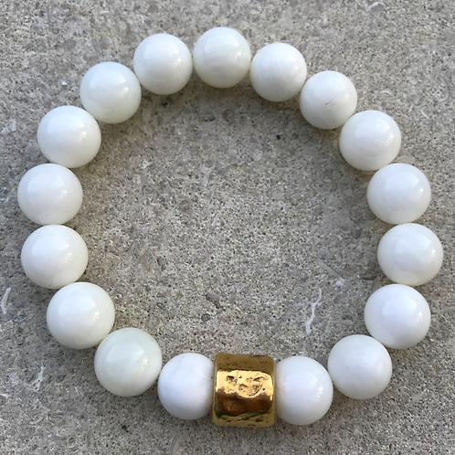 White Agate with Gold Spacer Bracelet
