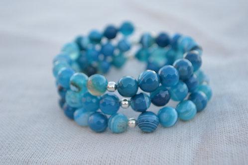 Blue Agate Memory Wire Bracelet