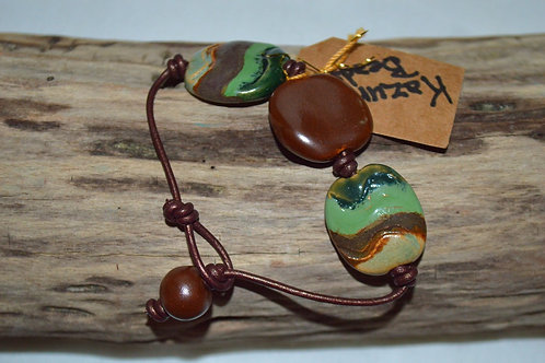 Brown/Green Kazuri Beads Leather Knotted