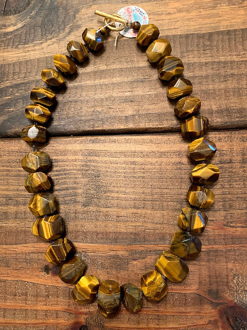 Tiger Eye Chunk Knotted Necklace