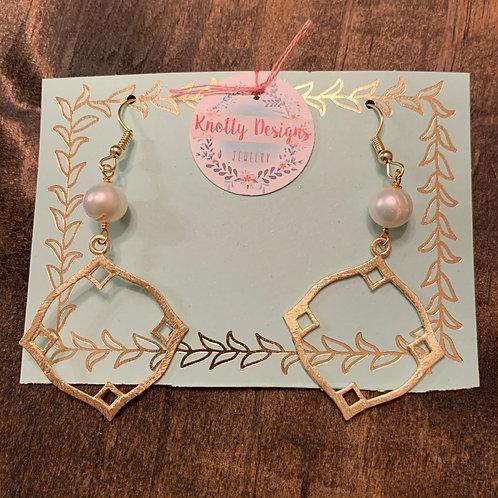 Pearl with Gold Diamond Circle Earrings