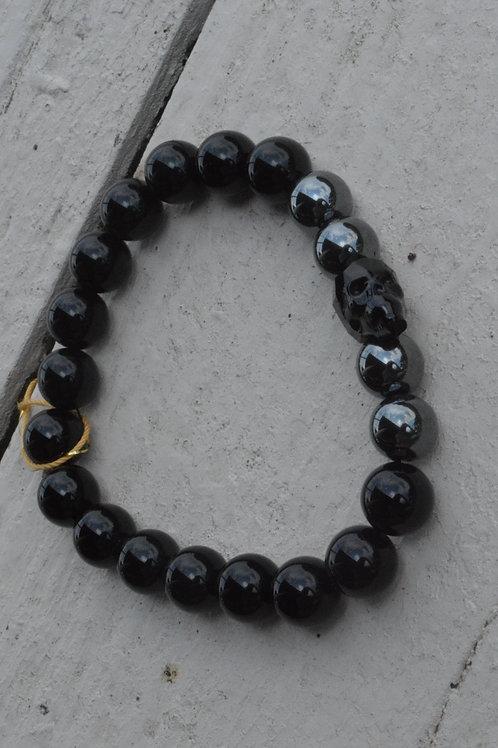 Black Crystal Skull w/ Hematite/Onyx (Elastic)