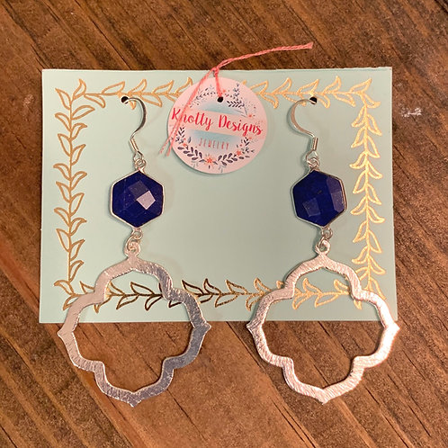 Lapis Hexagon with Silver Clover Earring