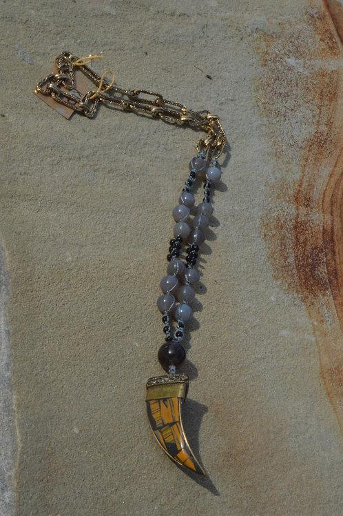 Macrame Grey Agate w/ Brown-Grey Horn