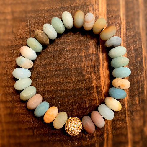 Gold Pave with Amazonite Bracelet