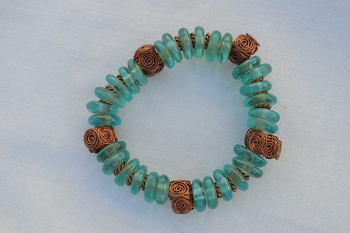 African Glass with Handmade Copper Beads