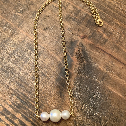 Triple Pearl and Gold Chain Choker