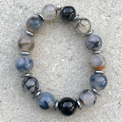 Onyx with Grey Dragon Vein Agate Bracelet