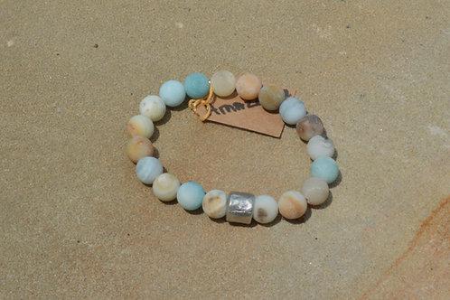Matte Amazonite w/ Silver Spacer Elastic Bracelet