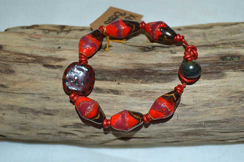 Brown/Red Tribal Kazuri Beads Leather Knotted