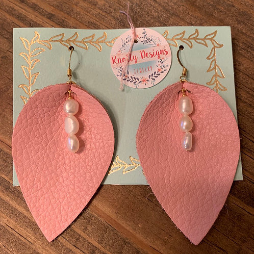 Pink Leather Leaf with Pearls Earring