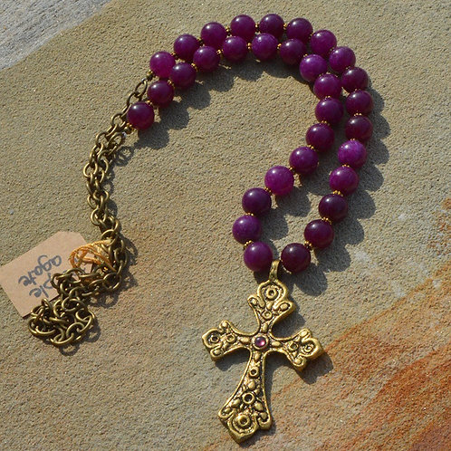 Bronzed Cross with Cranberry Agate