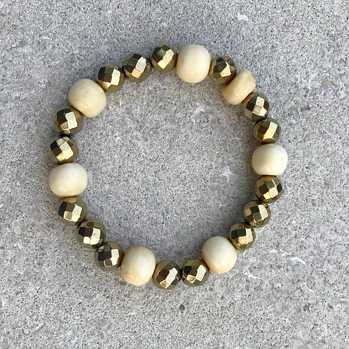 Gold Hematite with Yak Bone Bracelet