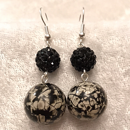 Black Pave with Black Snakeskin Stacked Earrings